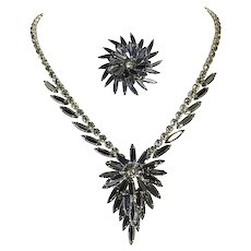 Juliana Delizza and Elster Demi Parure – Hematite Navettes – Necklace and Pin – Book Piece