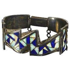 Vintage Native American Sterling Panel Bracelet – Lapis Opal Inlay – Lightning Motif