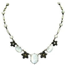 Czechoslovakian signed faux Moonstone Art Glass Necklace – Art Deco – 1920s/1930s