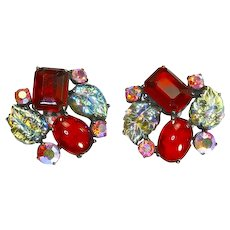 Schiaparelli Vintage Carved Leaves and Rhinestone Red Glass Cabochon Earrings – mid to late 1950s