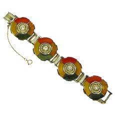 Bakelite Panel/Link Bracelet – Four Color – Art Deco style – Rare – Fabulous