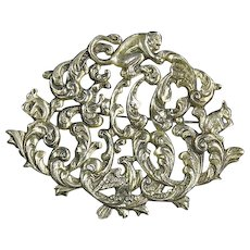 Peruzzi style Renaissance Revival Sterling Pin – Monkey, Squirrel, Bird Figural