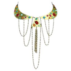 Egyptian Revival Bold Cabochon and Dangle Chain Bib Necklace