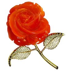 Nettie Rosenstein Carved Rose Brooch – Tremblant/Trembler Leaves – 1960 – faux Coral