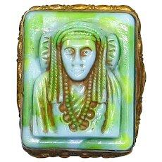 Neiger Brothers Czechoslovakian Egyptian Revival Pin – Art Glass Pharaoh/King Tut – Art Deco/1920s