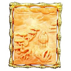 Hattie Carnegie Pin/Pendant Asian themed Garden – faux Carved Coral