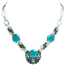Art Deco Chrome Enamel Czechoslovakian Necklace – Green Chyroprase Glass – 1920s