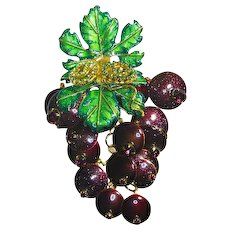 Lunch at The Ritz Pin/Pendant – Original Signed Menu –'Beaujolais'– Grape Vine Cluster – 1993
