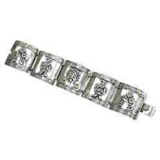 Early Mexican Sterling Silver Panel Bracelet – pre-Eagle – signed CH – Aztec Gods