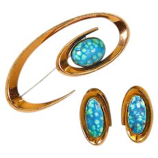 Matisse/Renoir Copper Enamel Pin and Earrings – Book Piece – Coronet – Mid Century Modern