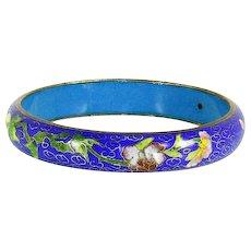Vintage Chinese Export Cloisonné Enamel Bangle Bracelet – Cobalt – Floral – 1930s/1940s