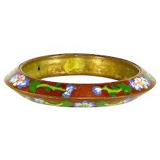 Vintage Chinese Export Cloisonné Bangle Bracelet –'Flying Saucer' Shape – Red Enamel – 1920s/1930s