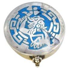 Sterling Silver Mexico Trinket/Pill Box – Aztec Warrior – Blue Enamel