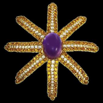 Starfish Figural Pin – Rhinestones – Huge – Eight Arms