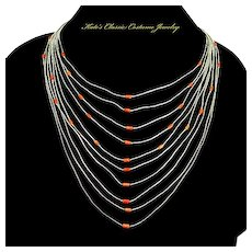 Vintage Native American Liquid Sterling Silver Coral Bead Necklace – 10 Strand