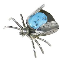 Native American Navajo June Bug/Beetle Insect – Turquoise and Sterling Silver