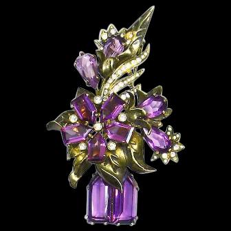 Rare Eisenberg Original Sterling Fur Clip/Pin – Museum/Book Piece – 1942 – 45- Vase of Flowers