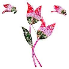 ART signed Mode Art Tulip Enamel Flower Pin and Earrings – Mid Century
