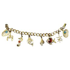 Ocean/Sea Marine Themed Charm Bracelet – 1950s – early 1960s