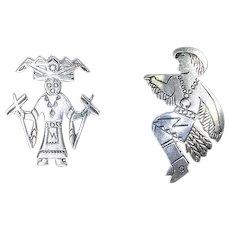 Vintage Native American Earrings – Eagle and Zuni Kachina Dancers – Sterling
