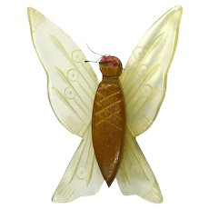 Vintage 1940s Carved Lucite and Wood Butterfly Pin
