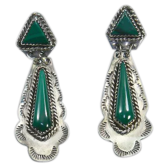 Native American Sterling and Malachite Dangle Earrings – signed S. Jack – Pierced