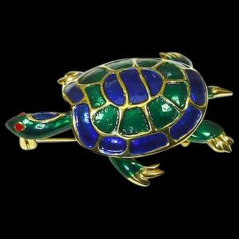 Marcel Boucher signed Enamel Turtle Figural Pin – 1960s