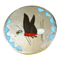 Vintage Zuni Native American Dennis Edaakie Inlay Sterling Pin/Pendant