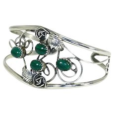 Native American Navajo Cuff Bracelet – Sterling Silver and Malachite – Delicate – Signed