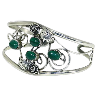Native American Navajo Cuff Bracelet – Sterling Silver and Malachite – Delicate – Signed