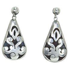 Mexican Silver Shadowbox Dangle Earrings – Signed – Early