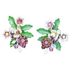Flower Floral Spray Earrings – Rhinestones and Enamel – 1960s