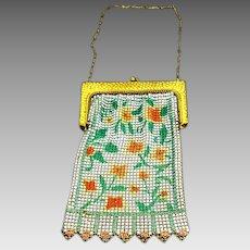 Whiting and Davis Enamel Mesh Purse – Poppies – Art Deco