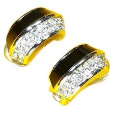 Vintage Christian Dior Earrings – Black Enamel and Rhinestone