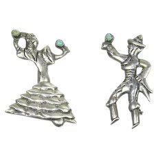 Flamenco Spanish Dancer Pins – Sterling Silver Turquoise Mexico pre-Eagle 1930s/1940s