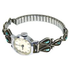 Zuni Turquoise and Sterling Watch Tips – Timex Watch – Signed JC – 1960s – Works