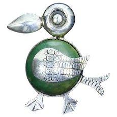 Mexico Silver Puffin Bird Pin – pre-Eagle – 1940s