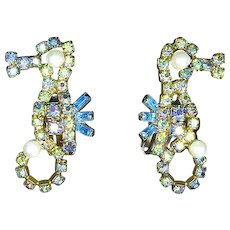 Seahorse Rhinestone Earrings – signed Alice Caviness – late 1950s/early 1960s
