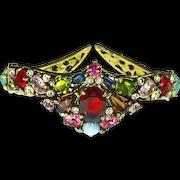 Hollycraft unsigned Early Jeweled Mogul Style Bracelet – Double Hinged