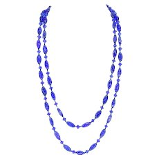Czech Art Deco Molded/Pressed Glass Beads – Hand Knotted Necklace – Cobalt Blue – 1920s/30s