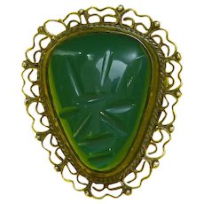 Mexico Silver Aztec/Tribal Face Mask Pin/Pendant – Carved Green Onyx