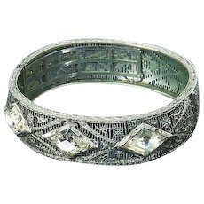 Art Deco Filigree Bangle Bracelet – signed JHP – Rhodium Plated – 1920s