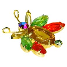 Delizza and Elster Juliana Bug/Insect Pin – Glitter Bug – Rhinestones – Book Piece