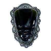 Early Mexico Sterling Silver Carved Black Onyx Tribal Face/Mask Pin – pre-Eagle