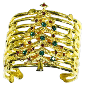 Modernist Christmas Tree Cuff Bracelet