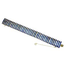 Crown Trifari Link Bracelet – Mid Century Modern – Cobalt Blue Enamel – early 1950s