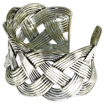 Mexico Braided Sterling Silver Cuff Bracelet – pre-Eagle – Heavy 46.4g