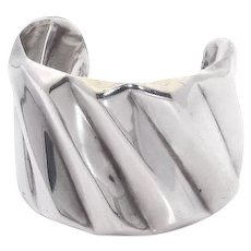 Mexican Sterling Silver Cuff Bracelet – Wide – Wave Design
