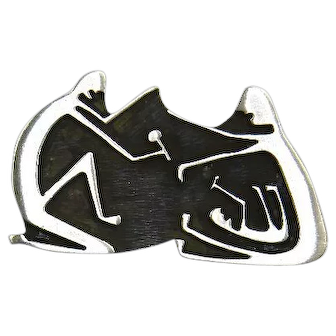 Native American Mark Romero Sterling Silver Pin –'Happy Family' Motif