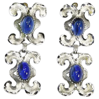 Sterling Dangle Earrings – Bond Boyd – Blue Art Glass Stones – 1950s